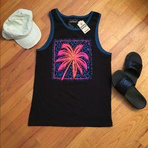 Throwback Style Tank, Black w/ Palm Tree 🏝